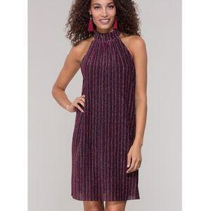 ECI Patterned Striped Glitter Short Party Dress